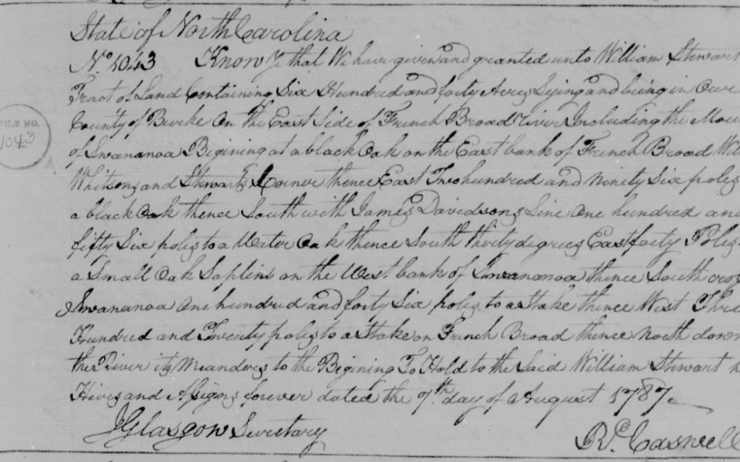 a scan from the State Archives of North Carolina showing the 1787 land grant from the state to William Stewart of 640 acres in Burke County