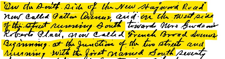 Section of the 1889 deed of sale of land for the Morris family to Benjamin Julius Alexander, describing the location and boundaries of the property.