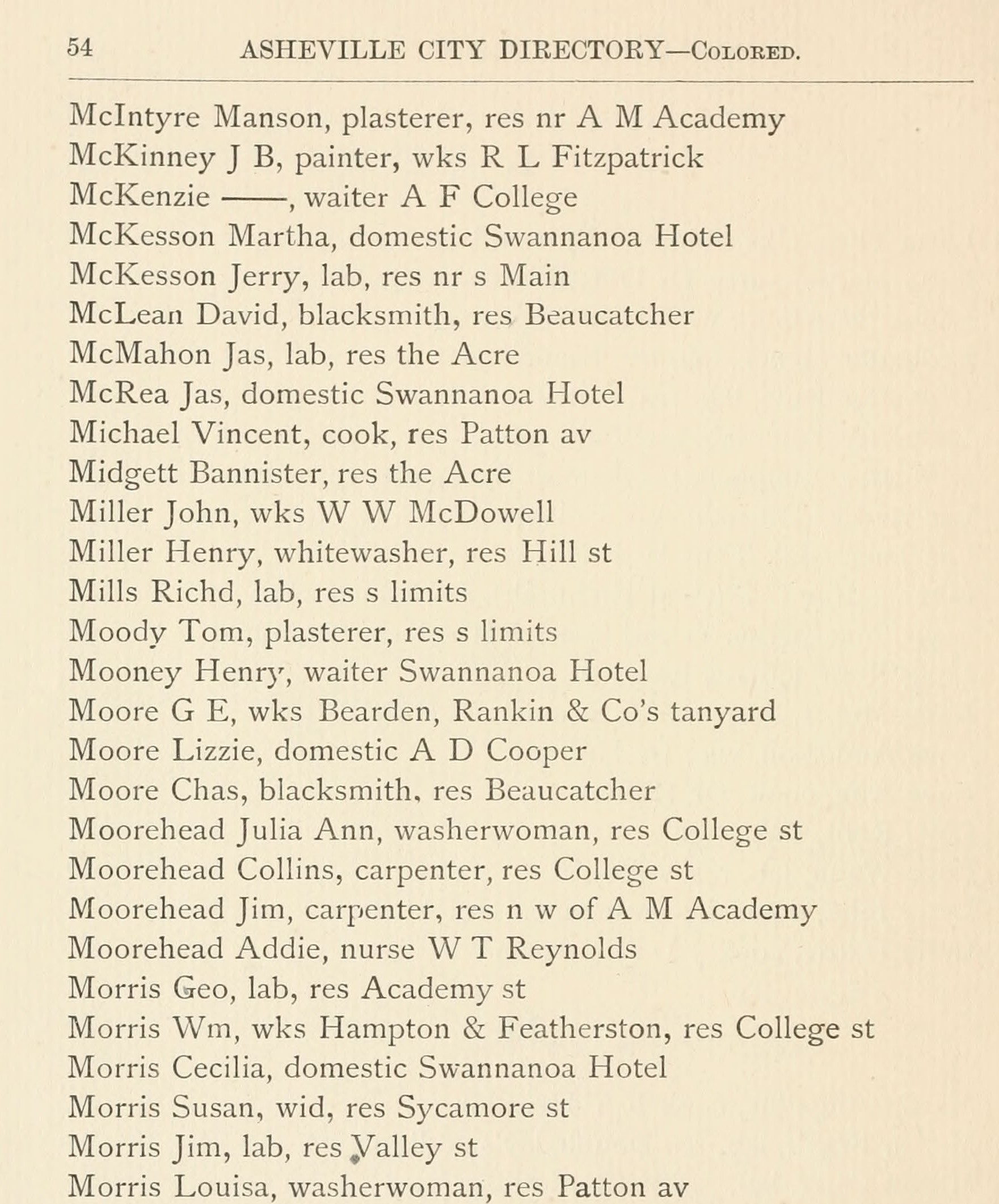 A page from the 1883-84 Asheville City Directory, indicating Louisa Morris working as a washerwoman and residing on Patton Avenue
