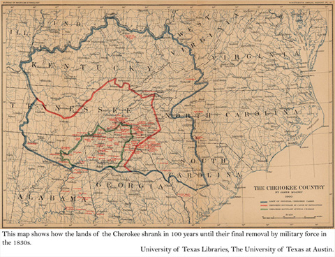 Map of Cherokee's loss of land in a 100 year span