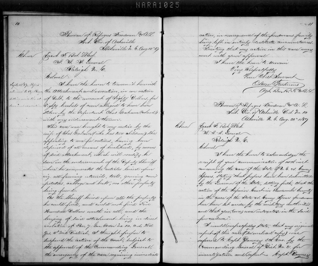 Archives – Bureau of Refugees, Freedmen, and Abandoned Lands, 1865 – 1872, Asheville